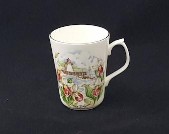 Nanrich Pottery Coffee Mug by Jason Works, Prince Edward Island Lighthouse, Orchids, Sea Port, Souvenir ~ Vintage 1980's
