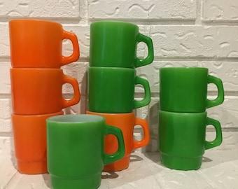 Vintage stackable mugs citrus colors