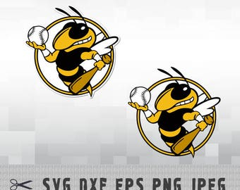 Hornet Softball SVG PNG DXF Logo Layered Vector Cut File Silhouette Studio Cameo Cricut Design Template Stencil Vinyl Decal Transfer Iron on