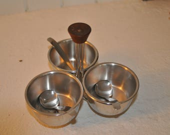 Mid-century, 1960s Stainless Steel Condiment Caddy w/ wood handle