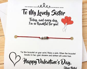Valentines Gift For Sister Valentines Gift For Her Sister Wish Bracelet  Sister Gift Valentines Sister Valentines