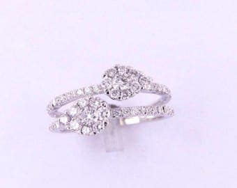 PRE ORDER ONLY 18ct white gold and diamond double band ring