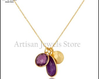Purple Amethyst Gemstone Necklace, Gold Plated 92.5 Sterling Silver Necklace February BirthstoneJewelry, Gift for Mom