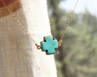 Gold plated turquoise cross necklace / turquoise cross necklace