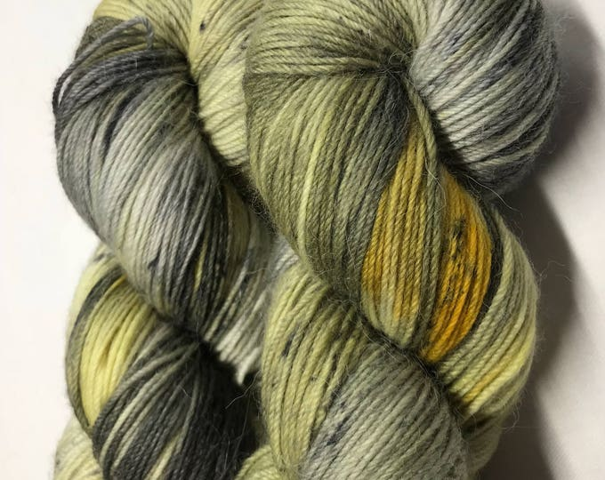 100g Superwash Merino / Alpaca / Nylon Yarn 4 ply, fingering, sock, hand dyed in Scotland, mustard, grey, black, speckles, 'grellow speckle'