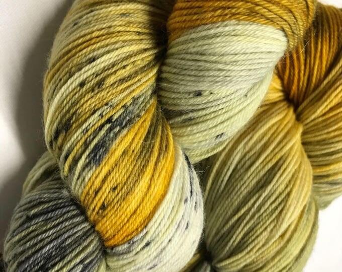 100g Superwash Merino / Nylon Yarn 4 ply, fingering, sock, hand dyed in Scotland, mustard, grey, black, speckles, 'grellow speckle'