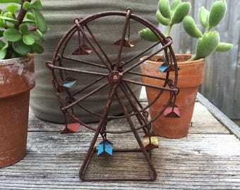 Fairy Garden | Miniature Ferris Wheel Carnival Fair Ride | Rustic Metal with Painted Patina | Whimsical County Fair for Fairies & Gnomes