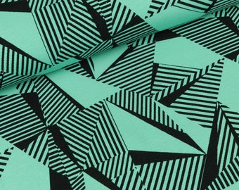 Cotton Jersey Malo large triangles black in mint (9,90 EUR / meter)