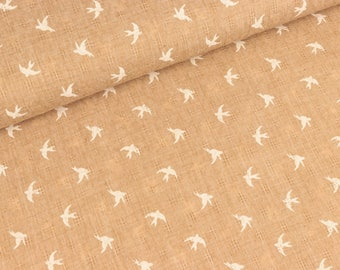 Woven lace swallows white on camel (7,90 EUR / meter)