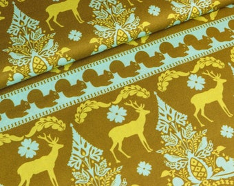 Cotton fabric Salzburg deer and squirrel on olive (11.50 EUR/meter)