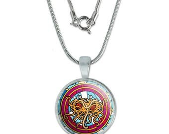 "Flying Spaghetti Monster Stained Glass 0.75"" Pendant with Sterling Silver Plated Chain"