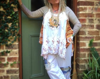 Rose Vintage Linens Upcycled Recycled Pullover Pinafore Embellished Onesize