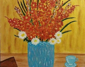 Flower painting - Vangoghish - 12 x 16