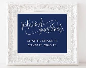 Polaroid Wedding Guest Book Sign - Wedding Sign - Wedding Photo Guestbook - Navy Wedding - Downloadable wedding #WDH878PL78