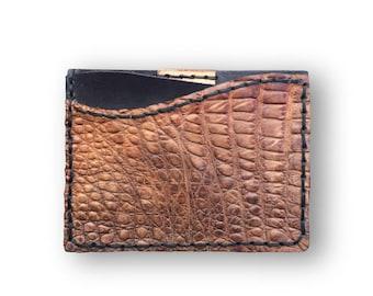 GENUINE ALLIGATOR Credit Card Wallet (Tan)