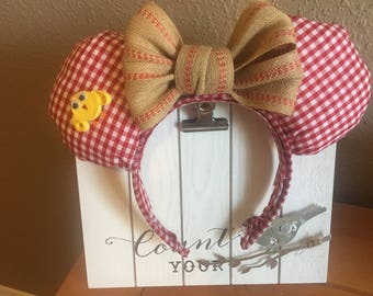 Red Picnic Minnie/Mickey Ears