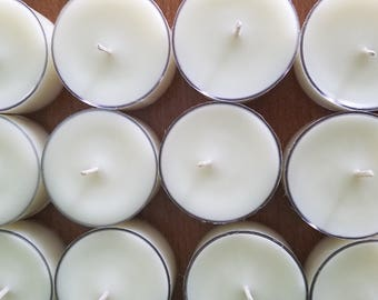 Set Of 50 Unscented Soy Tea Light Candles