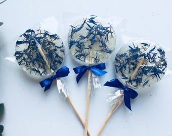 Clear and blue handmade candy, set of 3 wedding favor, cornflower lollipop, party sucker with cute blue bow, foodie gift for kid in wedding