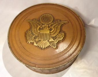 Rare 1930s Great Seal of the United States Vintage Tin/Mrs. Steven's Candy/Presidential Silhouettes/Christmas Tin