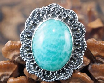 Natural Blue Aquamarine Ring, Punk Style , 925 Sterling Silver Ring, Genuine Ring, Birthday Gift Ring Size: US 5 3/4 J212