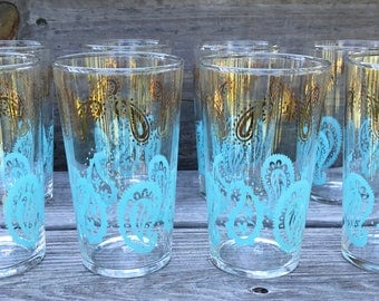Federal Glass Company Paisley Drinking Glasses Tumblers - Set of 8