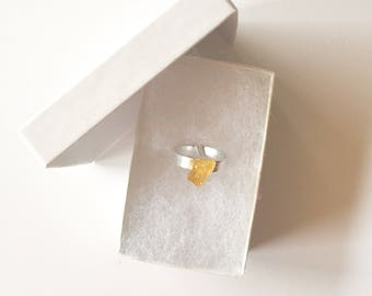 Silver Citrine Solitaire Ring