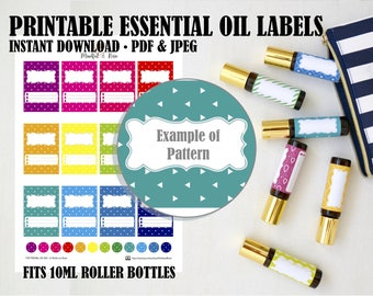 Printable Essential Oil Labels - 10ml Rollerball Labels Triangle Pattern in Bright Rainbow Colors