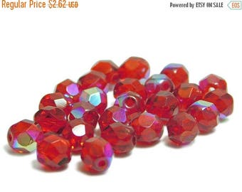 CLEARANCE Fire Polished Beads - 6mm Beads - Red Beads - Round Beads - Czech Glass Beads - Czech Beads - 25pcs (B814)