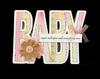 Handmade New Baby Girl Pink Newborn Adoption Congratulations Shower New Parents Expectant Parents Word Card