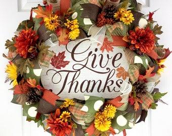Fall Mesh Wreath door decor / Thanksgiving Mesh Wreath / Autumn Mesh Wreath / Welcome Wreath / Rustic Mesh Wreath / Give Thanks Wreath