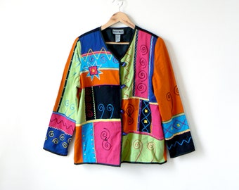 80s Colorblock Embroidered Toggle Jacket - 80s Jacket - 80s Blazer - Neon Jacket - Geometric Jacket - Vintage Jacket - Women's M