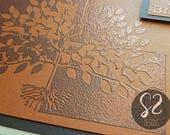 Custom Order of 2 Copper Embossed Tree Christmas Cards