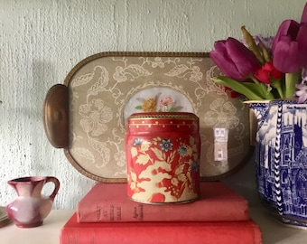 Vintage red & gold caddy tin, Kemps Chocolate Table Finger Biscuits, original label and wrappers, floral tin, storage tin, advertising, memo