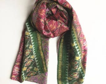 Upcycled, one-of-a-kind Vintage Kantha Silk Sari Scarf  - Pink/Green