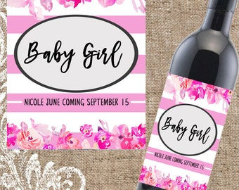 Baby Shower Gift, Baby Shower, New Baby Gift, New Baby Girl, New Baby Girl Gift, Personalized Wine Label, Custom Wine Label, Wine, Wine Gift