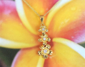 """Summer Sale Sterling Silver Yellow Gold Plated 3 Hawaiian Plumerias CZ Necklace With 18"""" Cable Chain, US Free Shipping! Gift for Her"""