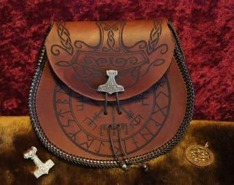 Leather Sporran w/ Accurate Vegvesir, With Elder Futhark and Yggdrasil/Mjonir Ver. 2! for LARP, Viking, SCA, RenFaire Costumes in brown