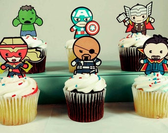 6 - Super Hero Cupcake Toppers - Front and Back