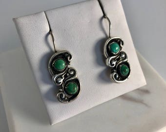 Vintage Sterling Silver Mexican Turquoise Earrings on wires Southwest