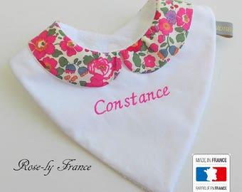 Peter Pan collar in liberty betsy baby bandana bib pink 0-18 months