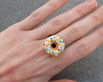 OLD @lucothe BRONZE ring handmade polymer clay jewelry gourmet CREATION ORIGINAL DONUT white MULTICOLORED gift idea