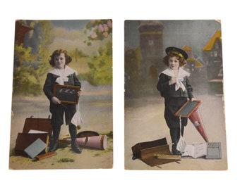 Antique Vintage 2 Postcards School Student 1910s Europe Germany Collection