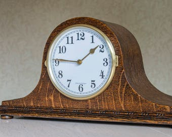 Upcycled vintage wooden mantel clock