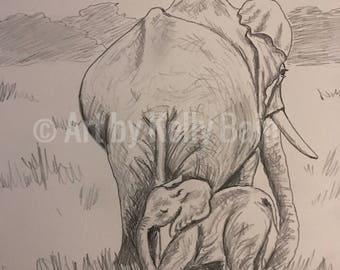 Elephant baby with mom