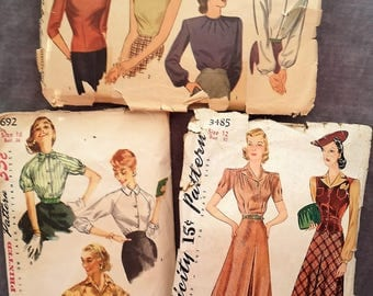 1940's and 1950 Misses Patterns, Simplicity  3485,1155, & 1692