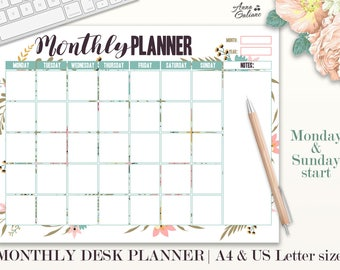 Monthly Planner Printable, Monthly Desk Pad Calendar, Undated Monthly Planner, Desk Calendar, Monthly Agenda, Organizer, Floral Print, Notes