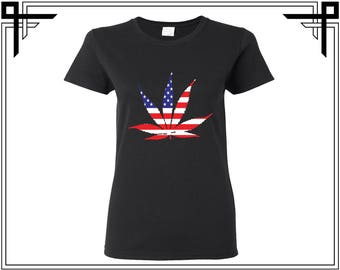 Weed Shirt Dope American Colors American Flag Shirt Tshirt America 4th Of July Gift For Her Womens Top Womens Shirt Womens Tshirt Tee Top