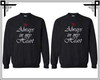 Always In My Heart Couple Crewneck Sweatshirt Always in My Heart Couple Crewneck Sweatshirt Couple Matching Sweatshirt Anniversary Gift