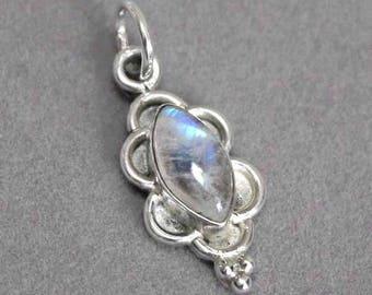 Vintage Dainty Marquise Cut Blue Flash Moonstone Gemstone Ornate Sterling Silver Pendant 693