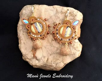 soutache earrings brown, soutache, soutache jewelry, soutache jewels, soutache embroidery, handmade earrings, circle earrings